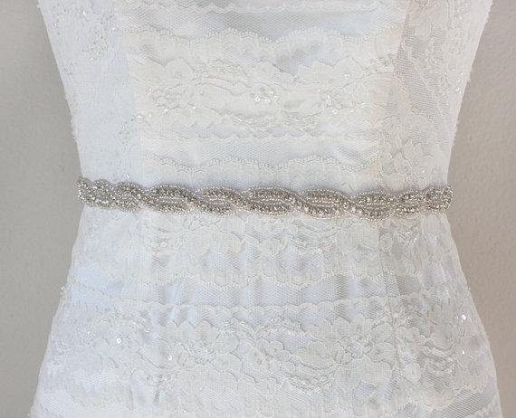 Hochzeit - ANDREA - Crystal Rhinestone Bridal Sash, Wedding Beaded Belt, Bridal Crystal Belts, Bridesmaids, Bridal Party