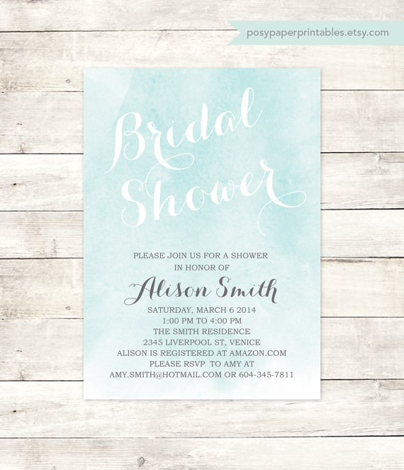 Свадьба - watercolor bridal shower invite printable wedding shower blue modern watercolour invitation digital invite customizable personalized