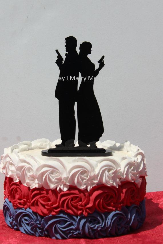 Police Officer Cop Super Spy Carry Gun Lover Wedding Cake Topper Silhouette 2261349