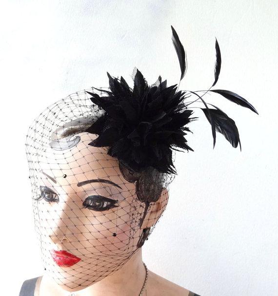 Hochzeit - Black Birdcage Veil, Halloween Bridal Head Piece, Black Feather Fascinator,Swarovski Crystal Dotted Veil. Hair Accessory, Flower Head Piece