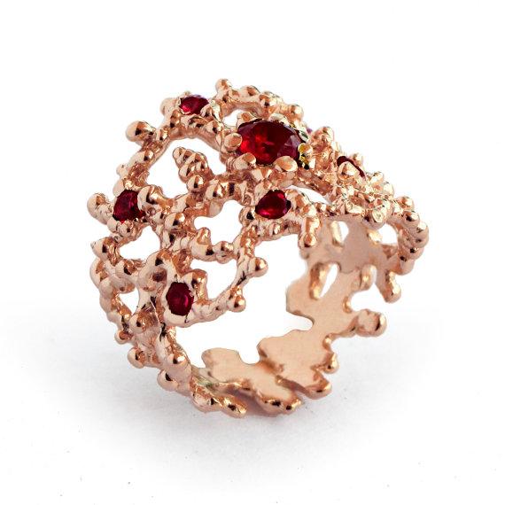Mariage - CORAL Red Garnet Ring, Rose Gold Garnet Ring, 14k Rose Gold Ring, Unique Rose Gold Engagement Ring