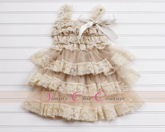 زفاف - Champagne Lace Rustic Flower Girl Dress, Cream Lace Dress, Flower Girl Dress, Country Chic Flower Girl Dress, Rustic Lace Wedding Dress,