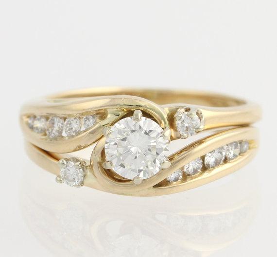Mariage - Diamond Engagement Ring & Wedding Band Wrap Set - 14k Yellow Gold Round .75ctw F6965