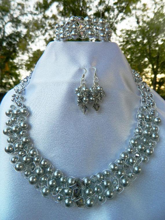 "Hochzeit - Silver Pearl Necklace Bridal Crystal Jewelry Crochet Set ""Silver Elegance"" Wedding or Casual"