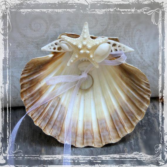Seashell Ring Bearer Pillow Alternative