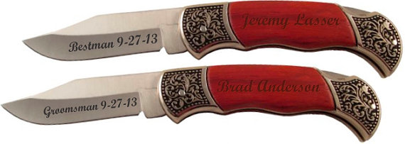 Hochzeit - 10 of Personalized Groomsmen Knife with Decorated Bolsters - pocket knife with wood handle - groomsmen gift, wedding party knives