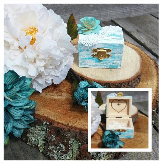 Свадьба - Ring Bearer Alternative Wooden Mini Chest Turquoise Aqua Add Your Initials Inside