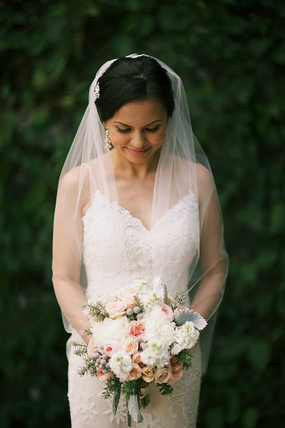 Hochzeit - Bridal Veil Fingertip Wedding Veil Length Soft Illusion Tulle