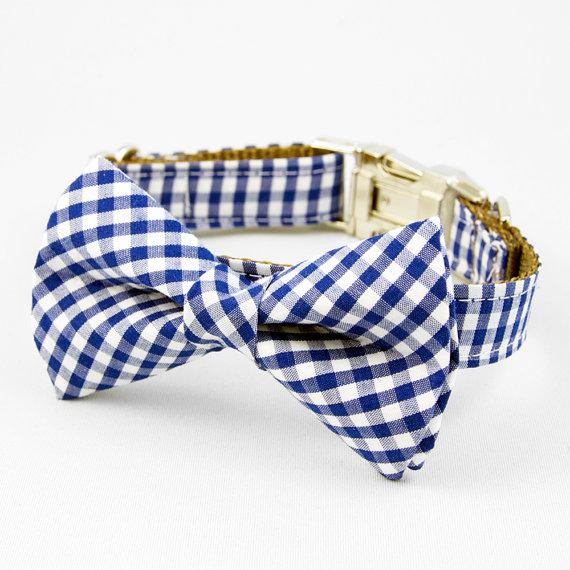 Свадьба - Bow Tie Dog Collar - Blue Gingham