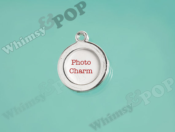 Wedding - 1 - Silver Single-Sided Circle Photo Charm, Round Photo Frame Pendant, Bouquet Charm, Photo Charm, Fits 14mm Photo (6-6B)