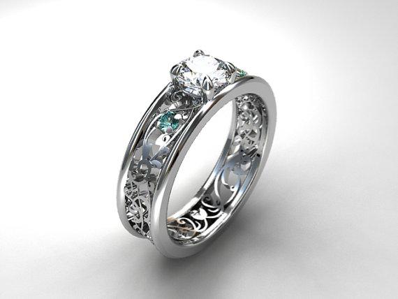 Свадьба - White sapphire and aquamarine filigree ring, engagement ring, blue engagement, sapphire, aquamarine wedding, unique, vintage, anniversary