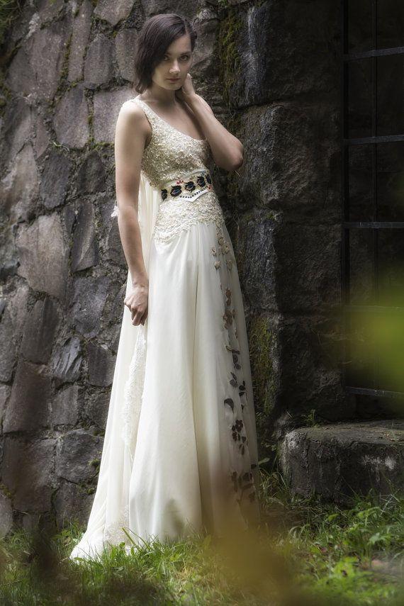 زفاف - Vanille Chiffon Dress With Leather