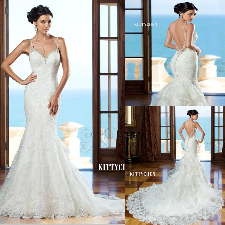 زفاف - Sexy V-Neck Spaghetti Backless Mermaid Wedding Dresses Tulle Applique Beaded Lace Bridal Gowns Wedding Dress Vestidos De Noiva Online with $113.53/Piece on Hjklp88's Store