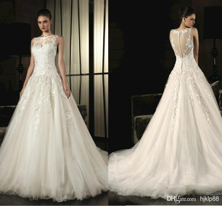 Wedding Dress Illusion Back: 2015 Sexy Illusion Neckline Vintage Wedding Dresses Chapel