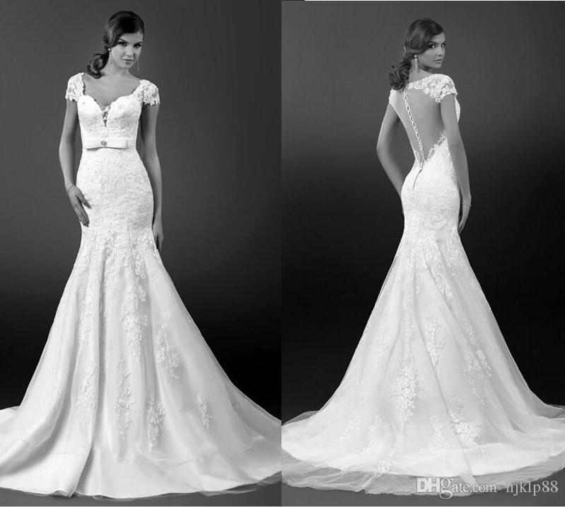 2015 sexy v neck backless mermaid wedding dresses court for Backless wedding dresses online
