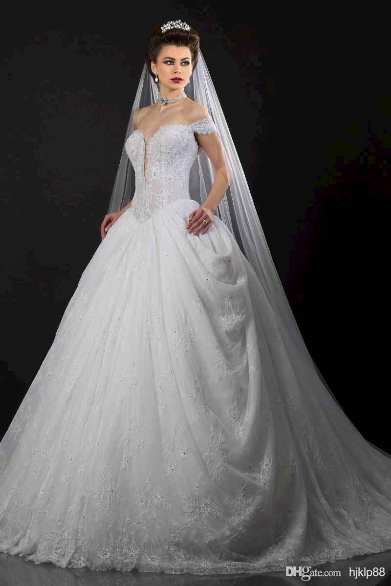 Hochzeit - Deep V-Neck Off-shoulder Appolo Fashion Wedding Dresses Lace Beaded Bridal Gowns Wedding Dress Online with $117.07/Piece on Hjklp88's Store