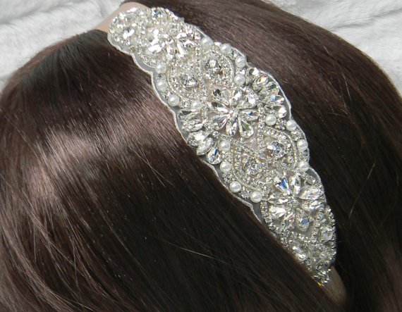 Свадьба - Champagne Bridal Headband - Wedding Headpiece - Pearl and Crystal Rhinestone Beaded Satin or Sheer Organza Ribbon Head Band - ALEXA II