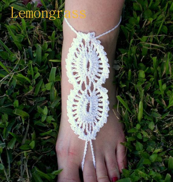 Свадьба - Barefoot Sandals - Crochet Sandals - WHITE Barefoot Sandal - Beach Wedding Sandal - Foot Jewelry - Lace Sandal - Bridal Beach Shoe -
