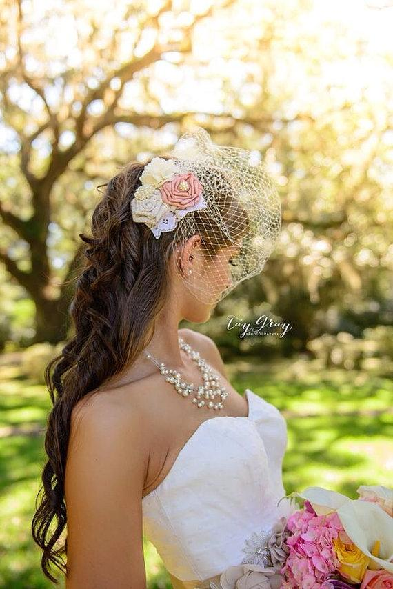 Свадьба - Colorful floral netted wedding headband
