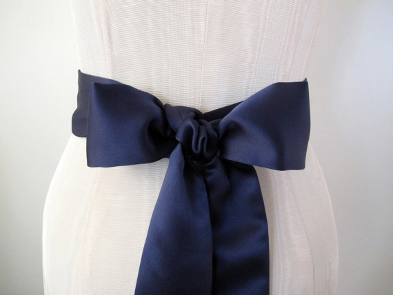 Свадьба - Wedding Sash, Bridal Sash, Navy Sash, Blue Wedding Sash, Matte Satin Sash by ccdoodle on etsy