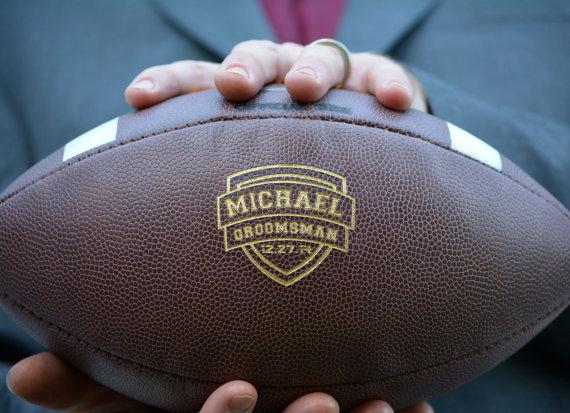 Hochzeit - Groomsmen Football, Mens Wedding Gift, Personalized College Football, Custom Football, Ring Security, Groomsman, Groomsmen Gift