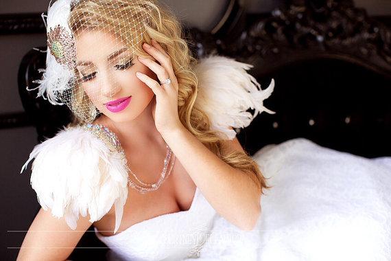 Свадьба - Swarovski Crystal Daisy, Unique Ivory Birdcage Veil, Feather Fascinator, Bridal Head Piece, Hair Accessory, Hat, Pink, Batcakes Couture