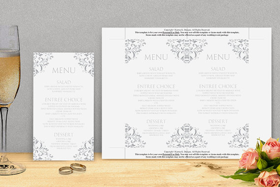 Свадьба - Wedding Menu Card Template - DOWNLOAD INSTANTLY - Edit Yourself - Nadine (Gray) 4 x 7 - Microsoft Word Format
