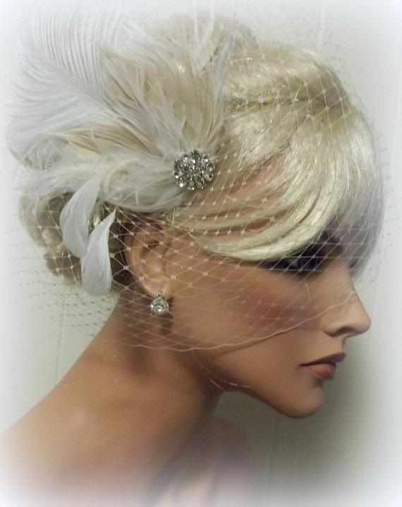 Свадьба - Wedding set, Bridal Veil and Feather Fascinator, Wedding Hair Clip, French Net Bridal Veil, Ivory bridal Fascinator, Wedding Fascinator Veil