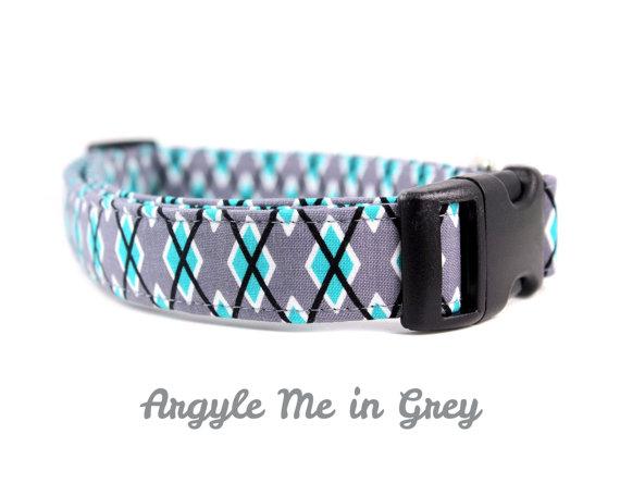 زفاف - Argyle Dog Collar, Grey and Turquoise