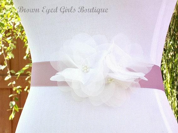 Wedding - Soft White Organza Flower Bridal Sash, Ivory and Lilac Bridal Belt, Ivory and Lavender Wedding Belt