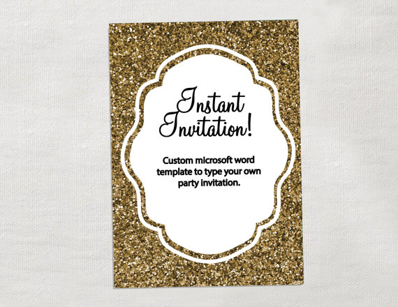 gold glitter party invitations instant download diy editable party