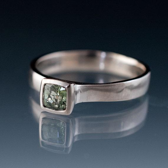 Свадьба - Cushion Green Sapphire Engagement Ring Bezel Sapphire Solitaire in Silver/Palladium or Palladium