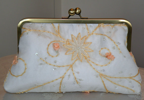 Mariage - Embroidered Silk Organza Clutch/Purse/Bag..Hands Free Bridal/Wedding..Ivory Floral/Beads..See Shrug/Wrap/Shawl...Evening Party