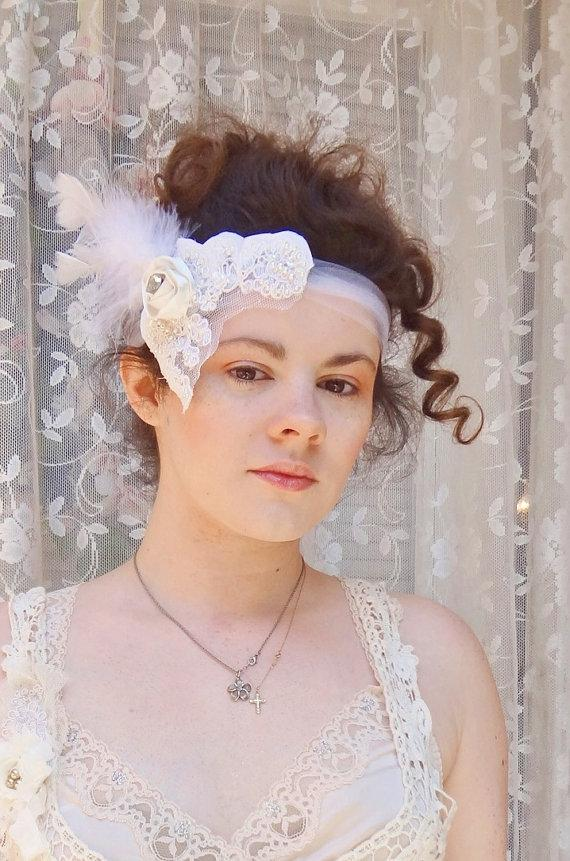 Свадьба - SALE Bridal Headband, Great Gatsy 1920s Lace Headpiece, Lace, Feathers and Tulle Headband, Shabby Chic Bertha Louise Designs