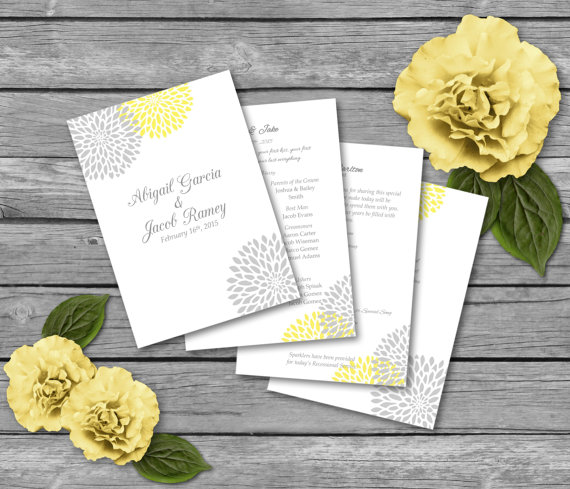 Wedding Program Template Gray Yellow Blossom Fold Over DIY - Pages wedding program template