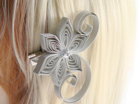 Hochzeit - Light Gray Wedding Hair Clip, Soft Gray Wedding Hair Accessory, Paloma Wedding