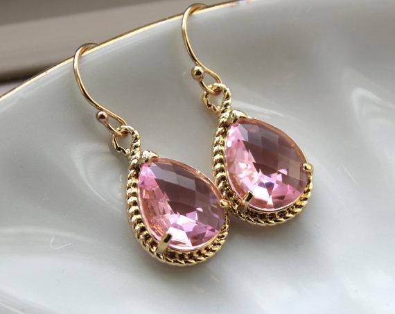 Свадьба - Light Pink Earrings Gold Blush Teardrop Earrings Pink Bridesmaid Earrings Jewelry Wedding Earrings Valentines Day Gift Blush Bridal Jewelry