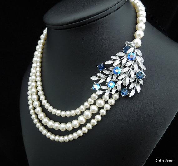 Wedding - Something Blue Vintage Necklace,Ivory Swarovski pearls,Vintage Brooch,Leaf Vintage Brooch,Wedding Pearl Necklace,Bridal Pearl Necklace,EVE