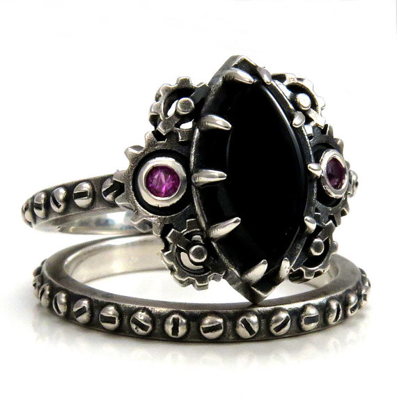 Hochzeit - Steampunk Engagement Ring Set - Marquise Onyx Cabochon with Pink Sapphires set in Gears - Rivet Wedding Band