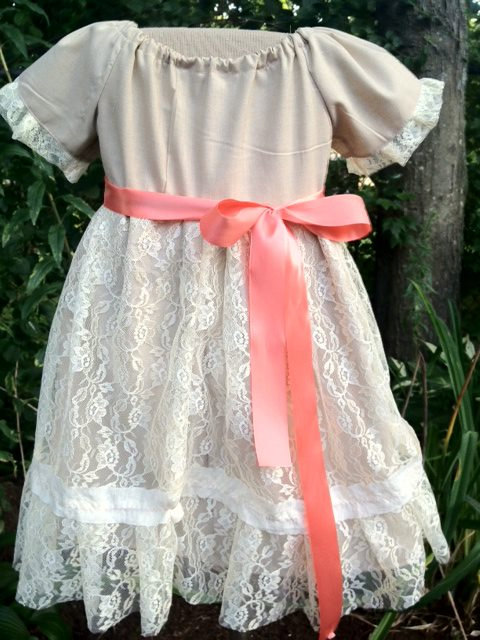 Boda - Rustic Flower Girl Dress, Tan and Cream, Lace