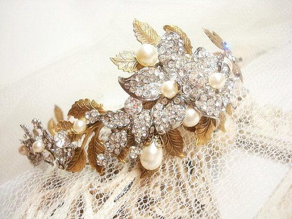 Свадьба - Bridal headpiece, Bridal headband, wedding tiara, leaf hair accessory, Wedding head piece, wedding hair band with rhinestone components