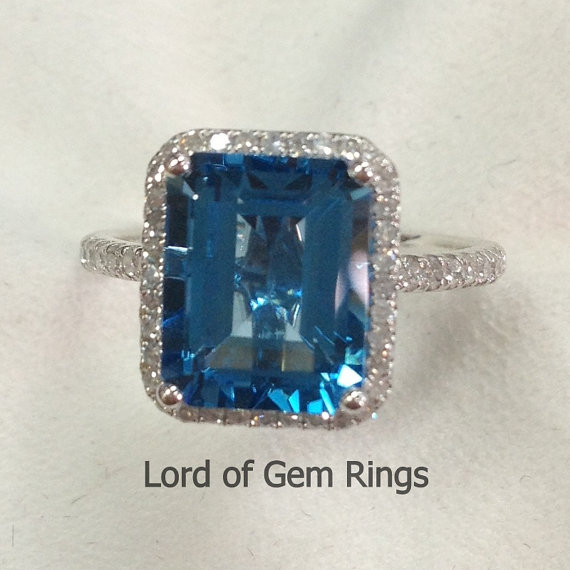 Wedding - Halo 8x10mm london Blue Topaz 14K White Gold Claw Prong .30ctw H/SI Diamonds Engagement Promise Bridal Ring