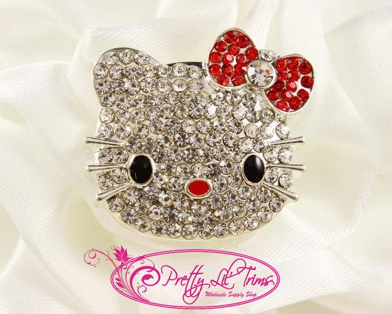 Hochzeit - Hello Kitty Rhinestone Embellishment, 1 Piece, 25 x 23 mm, Hello Kitty Charm, Hello Kitty Bow, Hello Kitty Jewlery, Hello Kitty Center