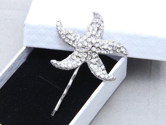 Starfish Hair Bobby Clip Flower Motif Rhinestone Wedding Bridal Crystal Ea Star Pin