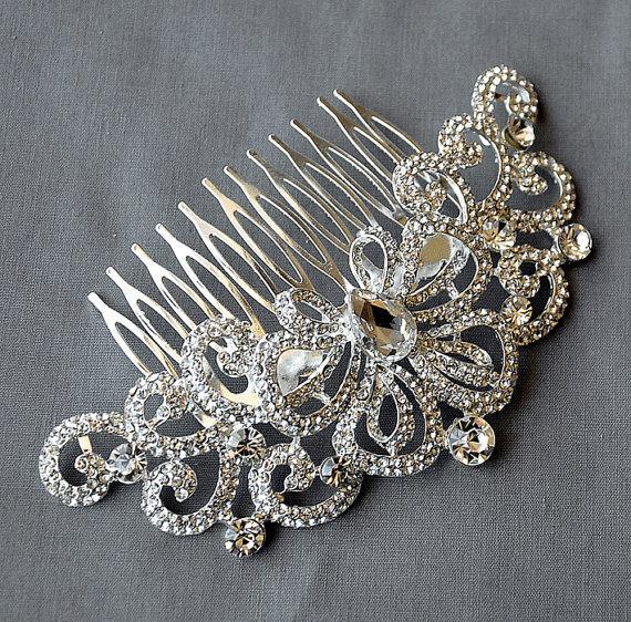 Свадьба - Bridal rhinestone shinning headpiece with a comb