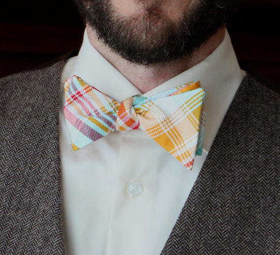Wedding - Men's Bow Tie in Tartain Red and Yellow Plaid - Self tying, pre-tied adjustable strap or clip on - Groomsmen attire