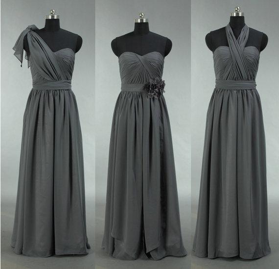 Hochzeit - Popular Bridesmaid Dress, Long Grey Convertible Chiffon Bridesmaid Dress, Grey Bridesmaid Dress