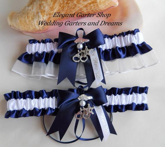 Mariage - Sheriff Wedding Garter Set Handcuff Charms Handmade Navy Blue White Garters