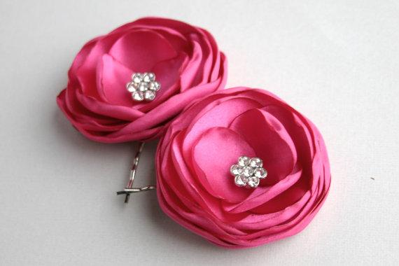 Pink Flower Hair Accessories Hot Clips Wedding Piece Bridesmaid Accessory Fuschisa Pins