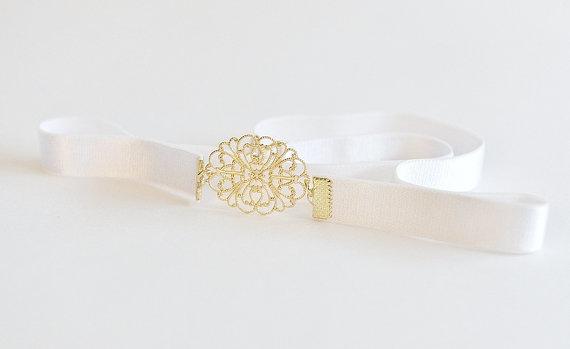 Bridal waist belt gold belt bridal white belt for Gold belt for wedding dress